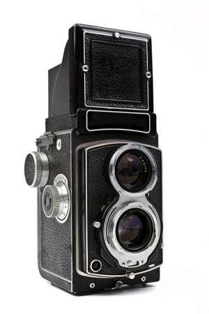 Ein Vintage-Kamera auf einem weißen Hintergrund. Standard-Bild - 15722686