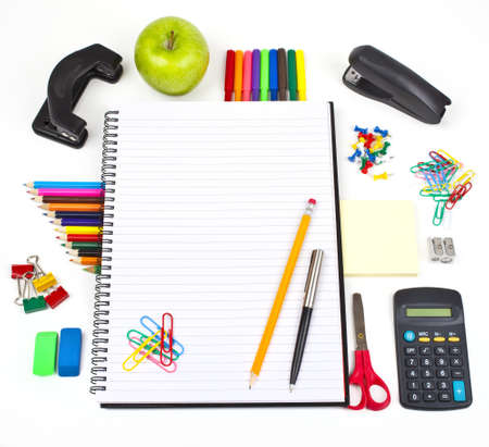 Stationery and school notebook. photo