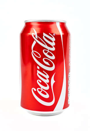 Can of Cola over a white background. Editorial