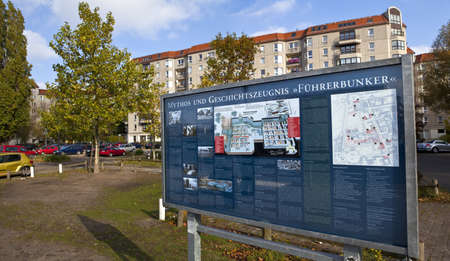 adolf hitler:  Information Board Marking the location of the Fuhrer Bunker in Berlin, Germany.  This was the area in which Adolf Hitler spent his final days at the end of the Second World War.