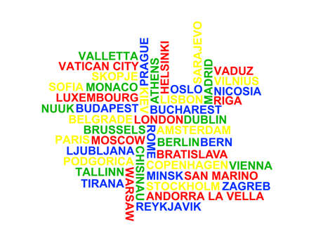 nuuk: A word cloud of the 46 European Capital Cities. Stock Photo