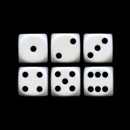 The six sides of a Dice on a black background