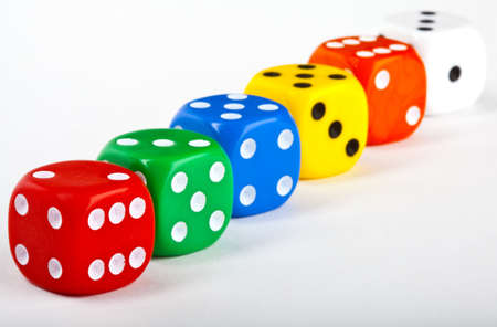 boardgames: Six Dice over a white background