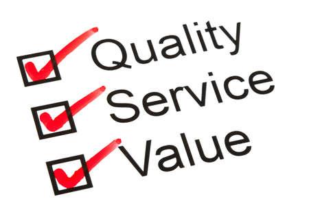 Fragebogen oder Umfrage mit 'Qualität', 'Service' und 'Value' angekreuzt. Standard-Bild - 16545100