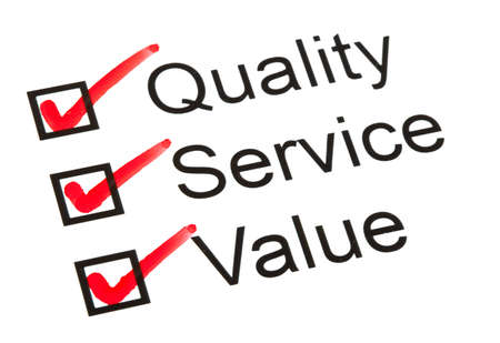 Questionnaire or survey with Quality, Service and Value ticked.