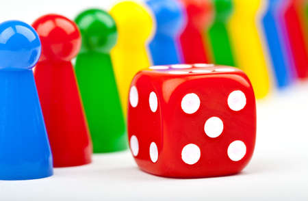 gambling counter: Board game Pieces and Dice over a plain white background  Stock Photo