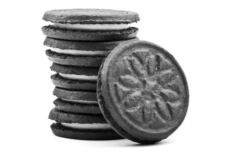 Oreo-style cookies over a white background. photo