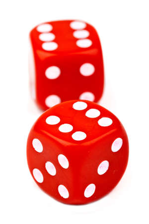 boardgames: Red Dice over a plain white background. Stock Photo