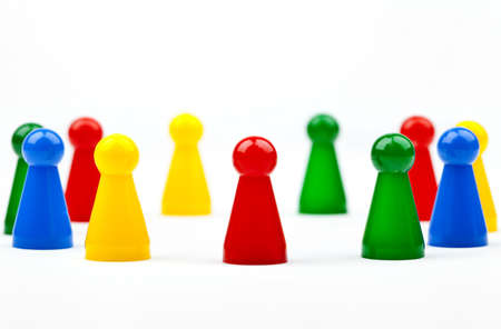 Board game Pieces and Dice over a plain white background. Stock Photo