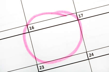 number 16: Date highlighted on a Calendar.