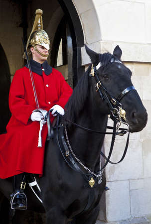 cavalry: A Horse Guard at Horse Guards Parade in London.