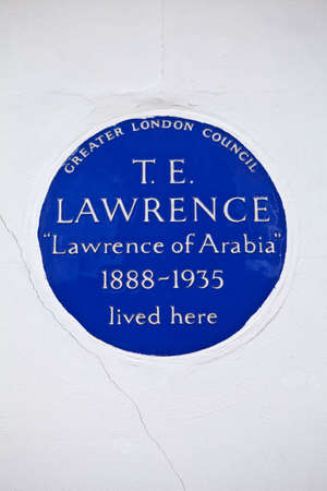 blue plaque: Blue Plaque dedicated to T. E. Lawrence on his former residence in Westminster, London. Editorial