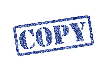 COPY blue rubber stamp over a white background. photo