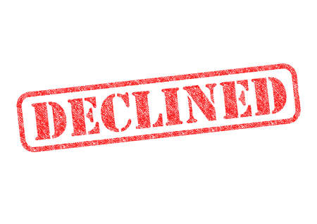 unaccepted: DECLINED red rubber stamp over a white background. Stock Photo