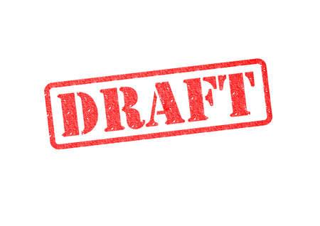 outline novel: DRAFT red rubber stamp over a white background.