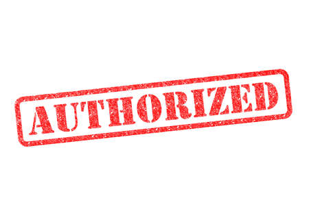 AUTHORIZED red rubber stampover a white background. Stock Photo - 17675878
