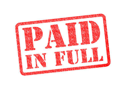 paying the bills: PAID IN FULL red rubber stamp over a white background.