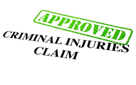 compensated: Close-up of an Approved Criminal Injuries Claim letter. Stock Photo