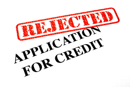 unaccepted: Close-up of a Rejected Credit Application letter. Stock Photo
