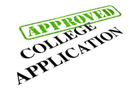 university application: Close-up of an Approved College Application letter.