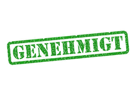 stempel: Genehmigt (Approved) Stempel (Stamp) over a white background. Stock Photo