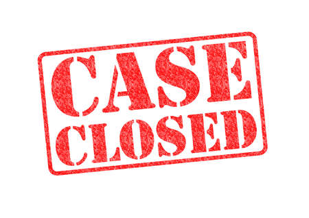 proceedings: CASE CLOSED red rubber stamp over a white background. Stock Photo