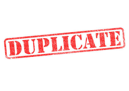 faked: DUPLICATE red rubber stamp over a white background. Stock Photo