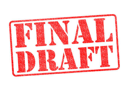 outline novel: FINAL DRAFT red rubber stamp over a white background. Stock Photo