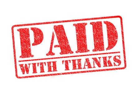 PAID WITH THANKS red rubber stamp over a white background. photo