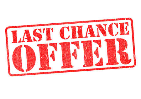 chance: LAST CHANCE OFFER red rubber stamp over a white background.