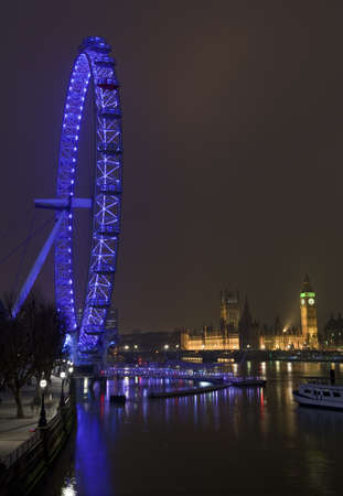 Magnificent view taking in the London Eye and Houses of Parliament  Stock Photo - 17985725