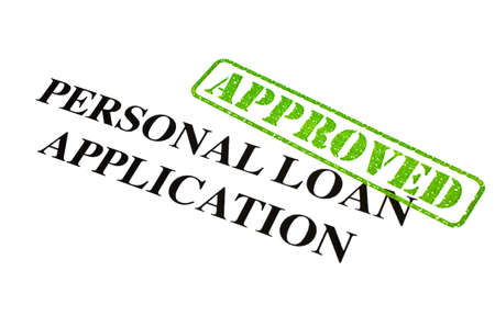 A close-up of an APPROVED Personal Loan Application document. Stock Photo - 18021986