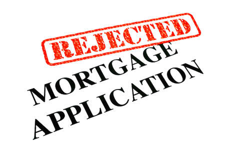 unaccepted: A close-up of a REJECTED Mortgage Application document. Stock Photo