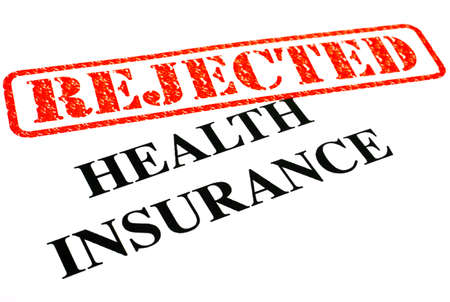 unaccepted: A close-up of a REJECTED Health Insurance document  Stock Photo