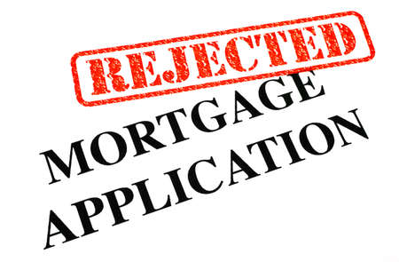 unaccepted: A close-up of a REJECTED Mortgage Application document  Stock Photo