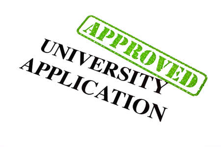 A close-up of an APPROVED University Application  photo
