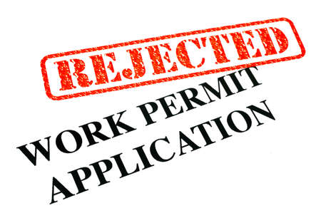 unaccepted: A close-up of a REJECTED Work Permit Application document  Stock Photo