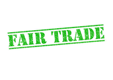 FAIR TRADE rubber stamp over a white background. photo