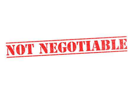 NOT NEGOTIABLE rubber stamp over a white background.