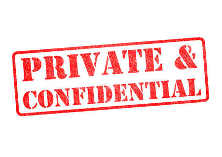 PRIVATE &CONFIDENTIAL rubber stamp over a white background.
