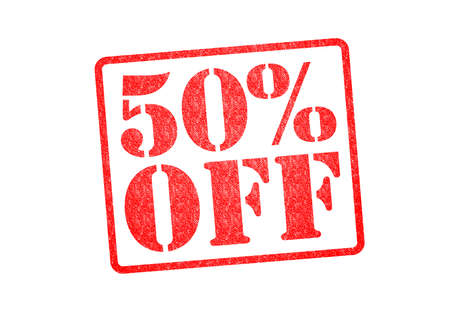 50% OFF Rubber Stamp over a white background.
