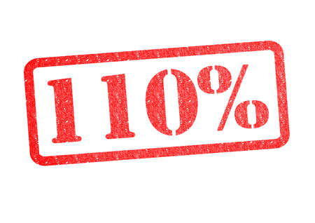 110% red rubber stamp over a white background.