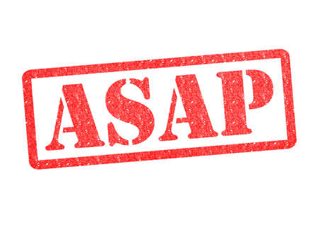 rushed: ASAP red rubber stamp over a white background. Stock Photo