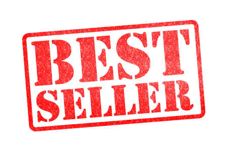 BEST SELLER red rubber stamp over a white background.