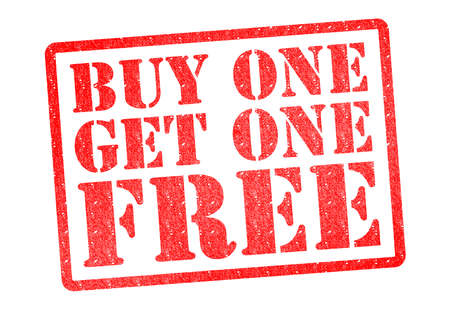 get one: BUY ONE GET ONE FREE Rubber Stamp over a white background.