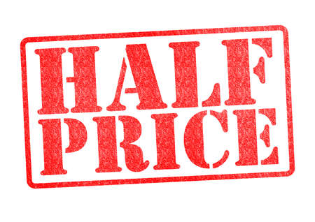 half price: HALF PRICE Rubber Stamp over a white background