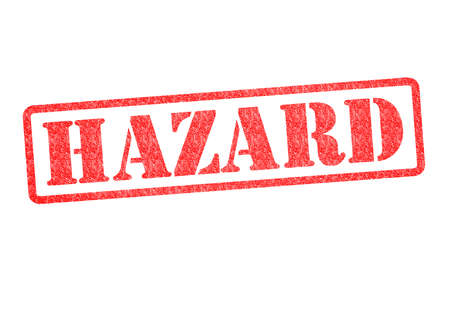 warned: HAZARD Rubber Stamp over a white background