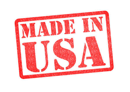 build in: MADE IN USA Rubber Stamp over a white background