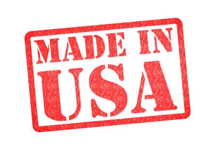 gemaakt: MADE IN USA Rubber Stamp over een witte achtergrond Stockfoto