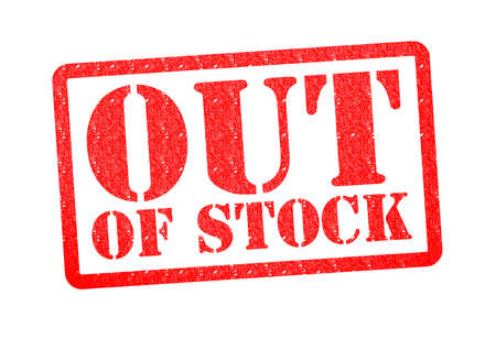 out of production: OUT OF STOCK Rubber Stamp over a white background